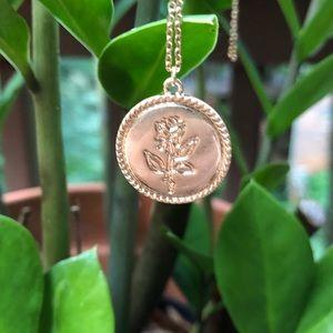 18k Matte Rose Medallion Necklace. NWB.